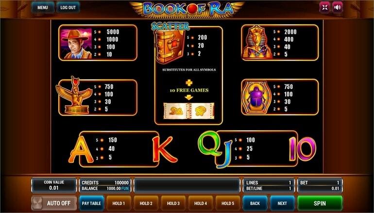 Изображение игрового автомата Book of Ra 3